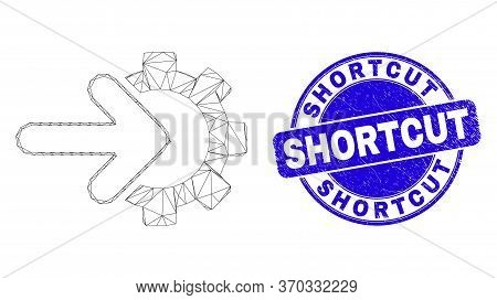 Web Mesh Cog Arrow Integration Icon And Shortcut Seal. Blue Vector Rounded Grunge Seal Stamp With Sh