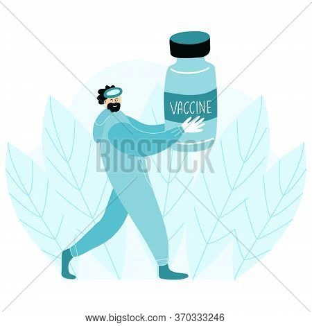 Virologist Caries A Vaccine Bottle. Scientist Has Completed The Development Of The Vaccine And He Is