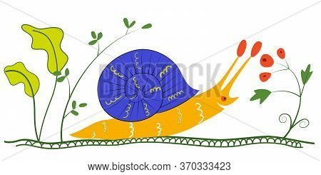 Colorful Picture With Funny Snail. A Snail With A House On Its Back Creeps On Ground. Vector Flat Il