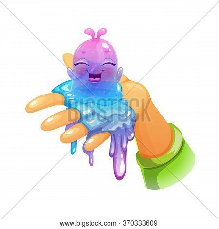 Funny Cartoon Blue Slimy Character Sitting On The Hand. Cute Slime Toy.