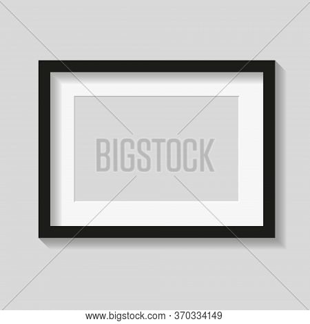 Black Photo Or Picture Frame With White Mat And Shades Isolated On Gray Background. Vector Illustrat