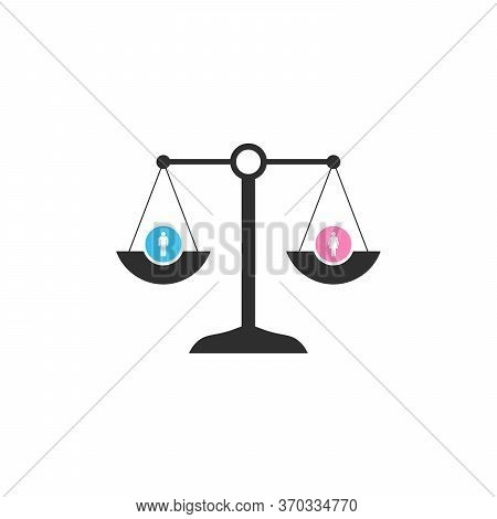 Scale In Equilibrium With Male And Female Icons Showing An Equality And Perfect Balance Between The