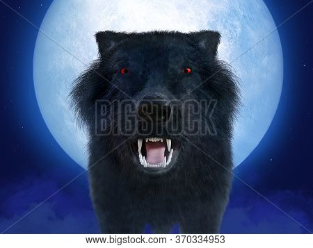 3d Rendering Of A Black Growling Aggressive Wolf Or Werewolf With Glowing Red Eyes In Front Of A Big