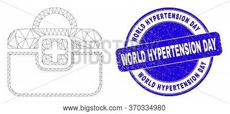 Web Mesh First-aid Case Pictogram And World Hypertension Day Seal. Blue Vector Round Scratched Seal
