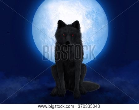3d Rendering Of A Black Wolf Or Werewolf With Glowing Red Eyes Sitting In Front Of A Big Moon. Stars