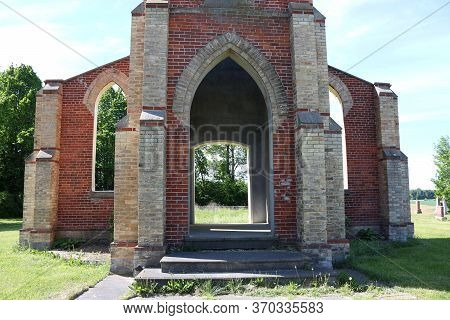 Doorway And Windows Of Old Catholic Church Built In 1883 And Closed 1952 Left As Tribute