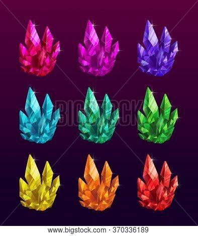 Beautiful Colorful Crystals Set. Ruby, Emerald, Sapphire, Brilliant Gemstones.