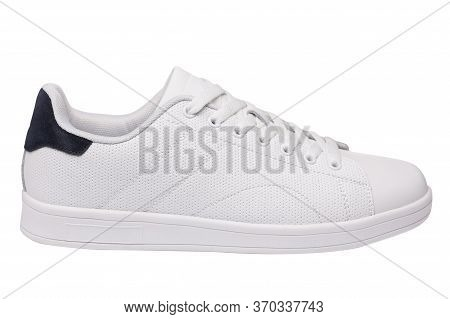 White Leather Sneaker With A Blue Insert, Sports Shoes, On A White Background