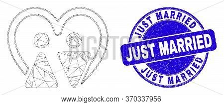 Web Carcass Married Persons Pictogram And Just Married Seal Stamp. Blue Vector Rounded Scratched Sta