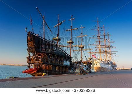Gdynia, Poland - June 3, 2020: Pirate ship on the water of Baltic Sea in Gdynia, Poland. This ship imitating XVII century galleon is big tourist attraction of Tri city in Poland.