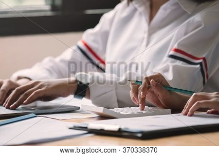Close Up Bookkeeper Or Financial Inspector Making Report, Calculating Or Checking Balance. Home Fina