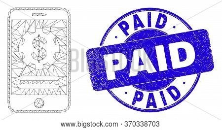 Web Carcass Mobile Financial Options Icon And Paid Seal. Blue Vector Round Scratched Seal Stamp With