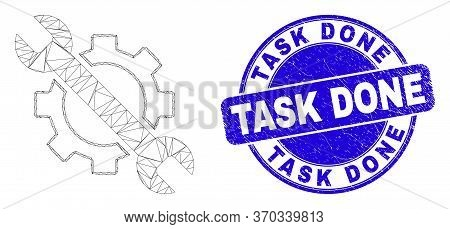 Web Carcass Options Tools Pictogram And Task Done Seal. Blue Vector Round Textured Seal With Task Do