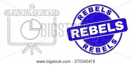 Web Mesh Pie Chart Demonstration Board Icon And Rebels Seal Stamp. Blue Vector Round Distress Seal S