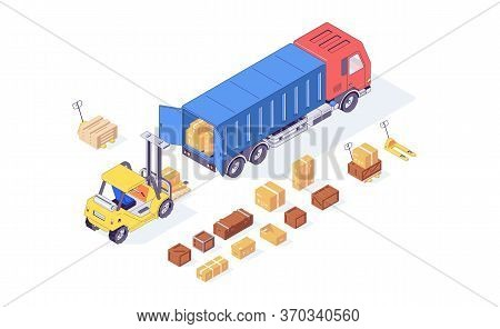 Isometric Box Cargo Forklift Truck Pallet And Forklift Goods Loading. Delivery And Load Vector Illus