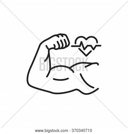 Strong Muscular Mens Hand Line Black Icon. Health Care Lifestyle. Sign For Web Page, Mobile App, But