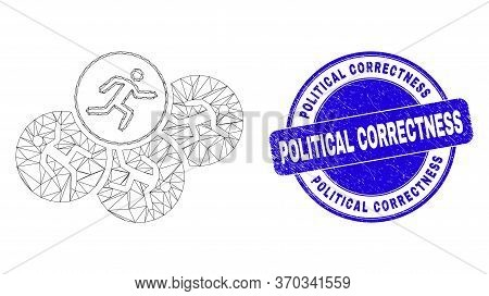 Web Carcass Running Persons Icon And Political Correctness Seal. Blue Vector Rounded Grunge Seal Sta