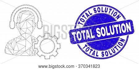 Web Carcass Service Call Center Pictogram And Total Solution Seal. Blue Vector Rounded Textured Seal