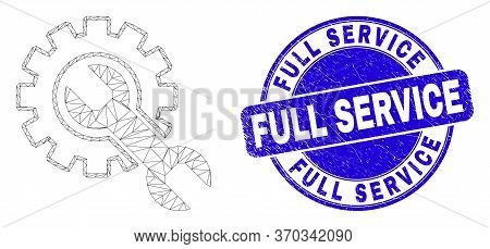 Web Mesh Setup Tools Pictogram And Full Service Watermark. Blue Vector Rounded Grunge Seal With Full