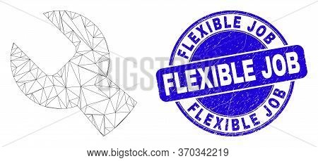 Web Carcass Setup Tools Pictogram And Flexible Job Seal. Blue Vector Round Grunge Seal With Flexible