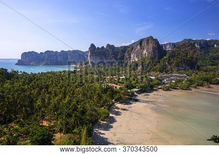 The Evening Sun In The Railay Viewpoint Paradise In Thailand.