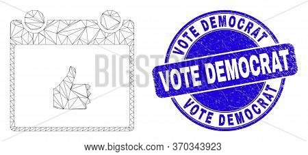 Web Mesh Thumb Up Calendar Page Pictogram And Vote Democrat Stamp. Blue Vector Round Distress Stamp