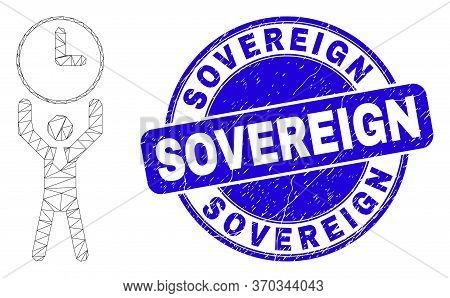 Web Mesh Time Manager Icon And Sovereign Stamp. Blue Vector Round Distress Seal Stamp With Sovereign