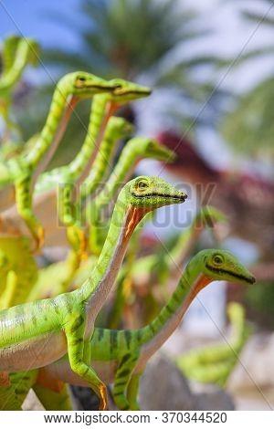 Nong Nooch Garden, Pattaya, Thailand - April 1, 2020: Dinosaur Valley? In Nong Nooch Tropical Botani