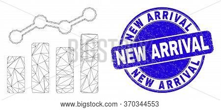 Web Carcass Trend Charts Icon And New Arrival Seal Stamp. Blue Vector Rounded Scratched Seal Stamp W