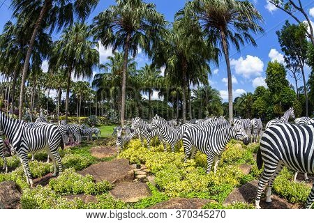 Pattaya, Thailand -​ May 2, 2019​: Statue Zebra Zoo Valley​ In  Nong Nooch​ Garden, Tourists ​ Trave