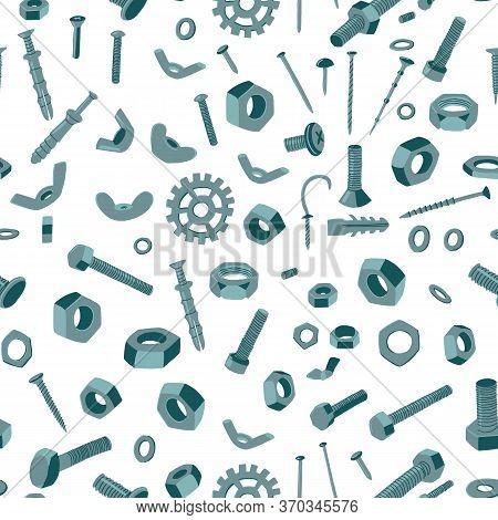 Metal Fasteners Seamless Pattern. Screw, Nail, Dowel, Anchor.