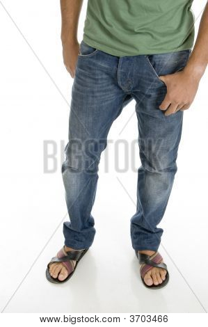 Close Up View Of Man\'S Legs