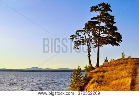 Summer mountain landscape view, landscape of tall spreading pine trees on the cliff at Irtyash Lake in Southern Urals, Russia - summer landscape in sunny weather. Picturesque summer mountain landscape of Urals nature