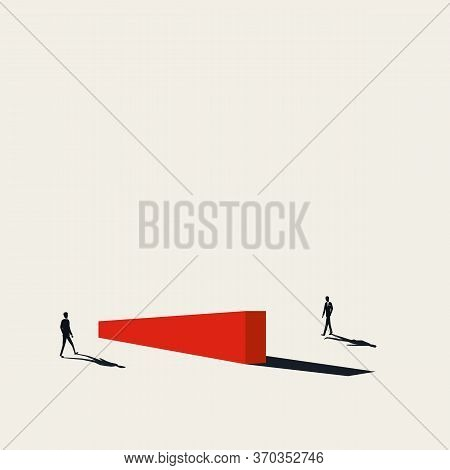 Business Negotiation Obstacles Vector Concept With Businessmen Approaching Barrier. Overcoming Chall
