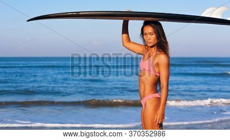 Happy Girl - Young Surfer With Surf Board Go To Surfing With Fun On Sea Waves. Active Family Lifesty