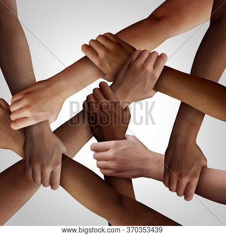 Racism And Human Civil Rights As Diverse People Of Different Ethnicity Holding Hands Together As A S
