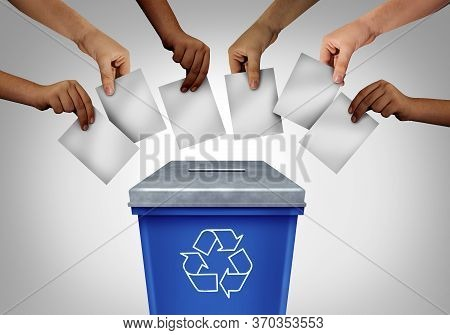 Wasted Vote And Voting Fraud Concept As Diverse Hands Casting Ballots At A Polling Station Shaped As