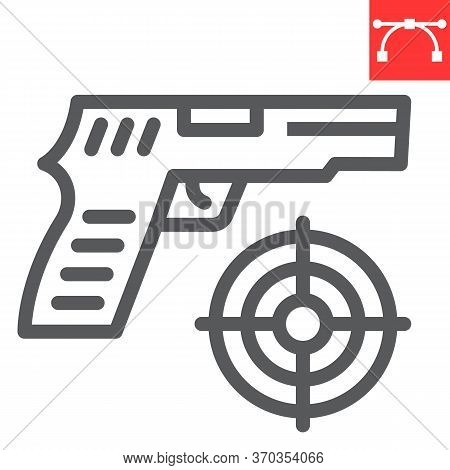 Shooter Game Line Icon, Video Games And Gun, Shooting Target Sign Vector Graphics, Editable Stroke L