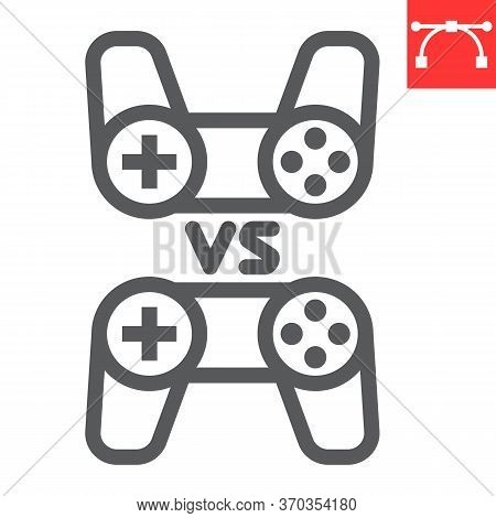 Multiplayer Game Line Icon, Video Games And Gamepad, Game Consoles Sign Vector Graphics, Editable St