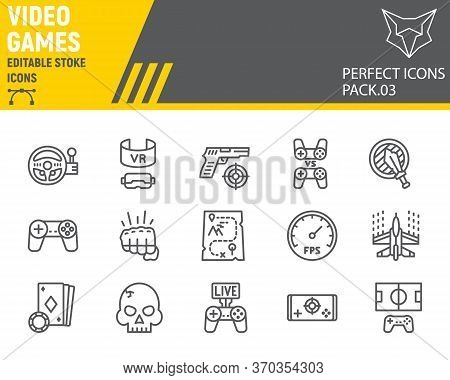 Video Games Line Icon Set, Gaming Symbols Collection, Vector Sketches, Logo Illustrations, Video Gam