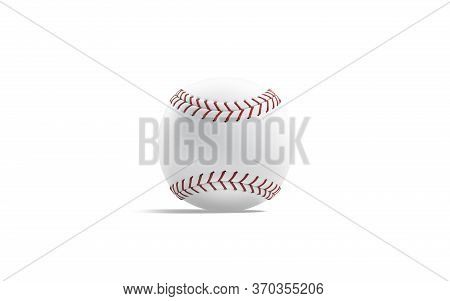 Blank White Baseball Ball With Red Seam Mock Up, Isolated, 3d Rendering. Empty Fast Circle Throw For