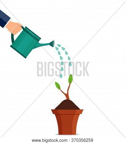 Hand Watering Can Plant. Floral Leaf Sprout Under Watering Watering Can. Agriculture Equipment Or Ho