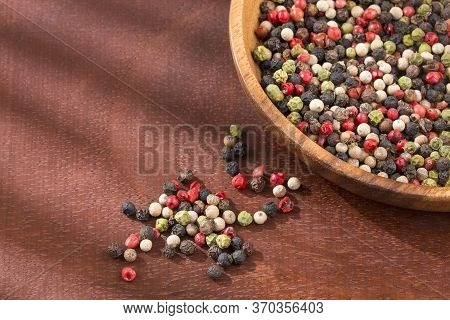 Mixture Of Colorful Peppers. Wooden Background - Top View
