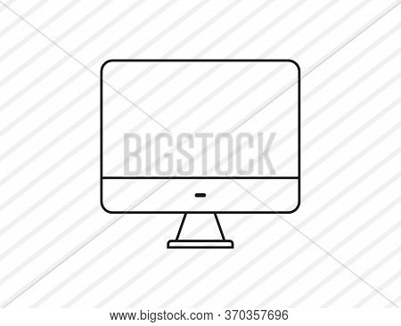 Computer Icon Sign. Isolated Pc Monitor On Transparent Background. Display Screen In Linear Style. D