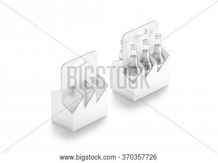 Blank White Glass Beer Bottle Cardboard Holder Mockup, Side View, 3d Rendering. Empty Canned Water P
