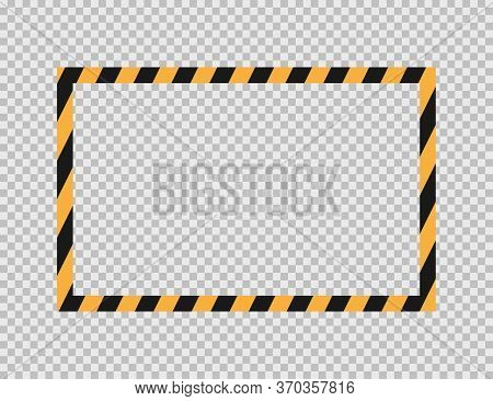 Caution Striped Frame. Template Of Warning Border. Mockup Of Diagonal Stripes Sign. Isolated Attenti