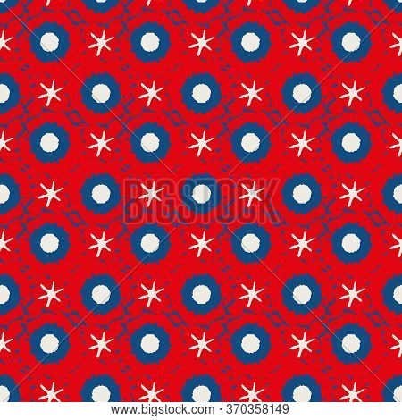 Abstract Moon Crater And Stars Vector Seamless Pattern Background. Naive Style Mix Of Celestial Aste