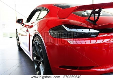 Umea, Norrland Sweden - June 6, 2020: Very Fast Red Sports Car From Behind