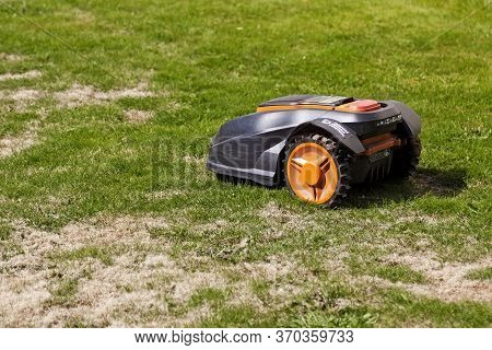 Umea, Norrland Sweden - May 24, 2020: An Advanced Robotic Lawnmower