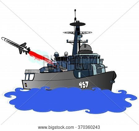 Navy Guided Missile Frigate Is Firing C-801 Guided Missile At Starboard Side Colour Illustration Vec